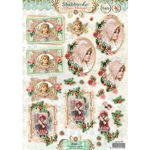 Shabby Chic Winter Christmas - 3D/klippeark utstanset