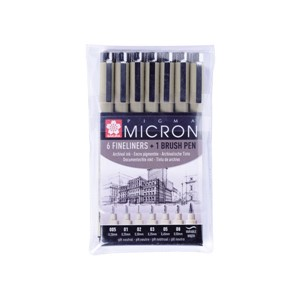 Sakura Pigma Micron - 49 sort - sett 6 + 1 brush